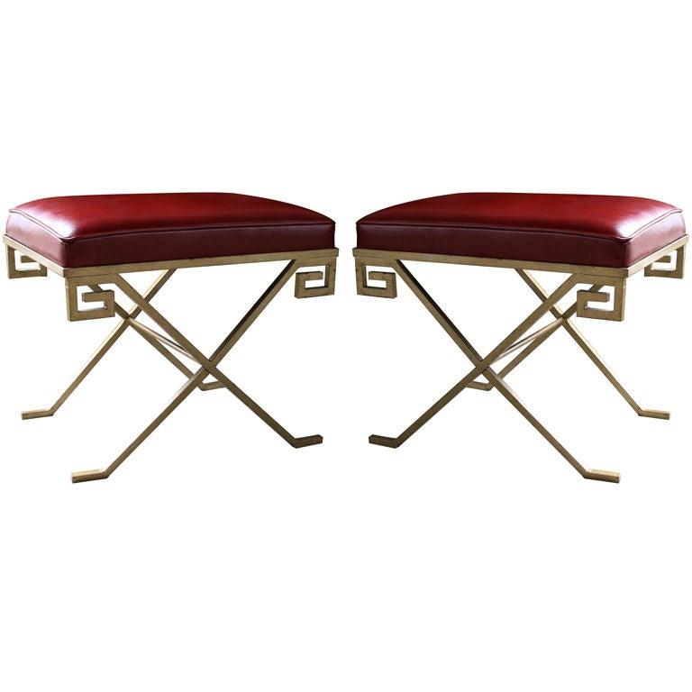 pair of greek key stools after jean michael frank at 1stdibs
