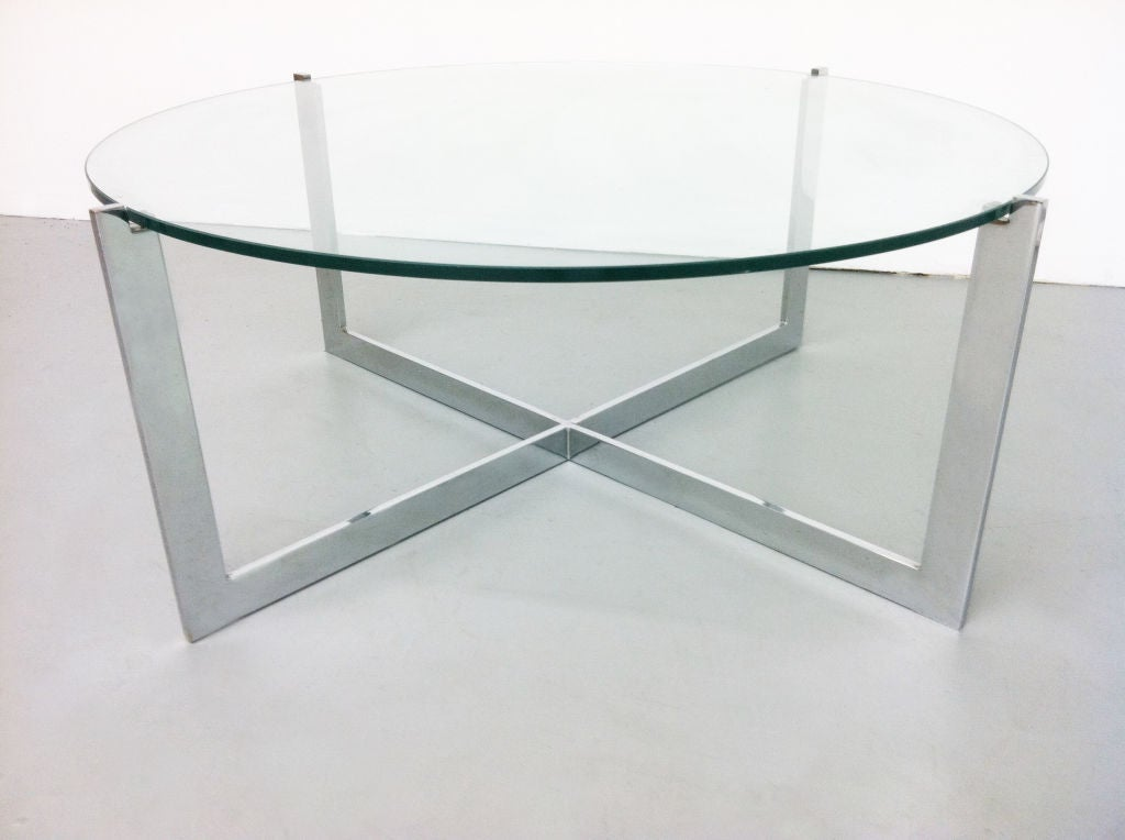 Milo baughman chrome glass cantilevered round coffee table for Glass top circle coffee table