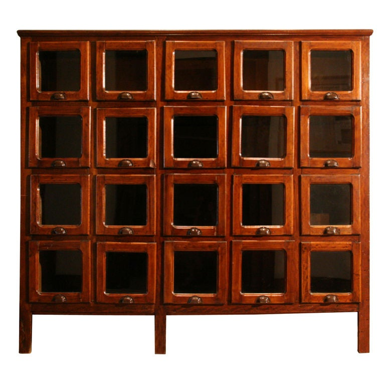 Italian wooden pasta cabinet w 20 glass front drawers at for Sideboard glasfront
