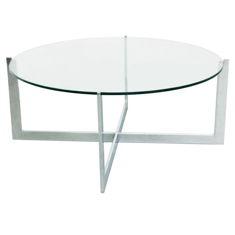 Milo Baughman Chrome Glass Cantilevered Round Coffee Table At 1stdibs