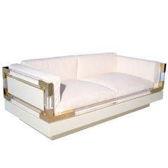 One of Kind Charles Hollis Jones Lucite & Brass Loveseat Sofa