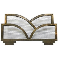Art Deco Brass Fireplace Screen