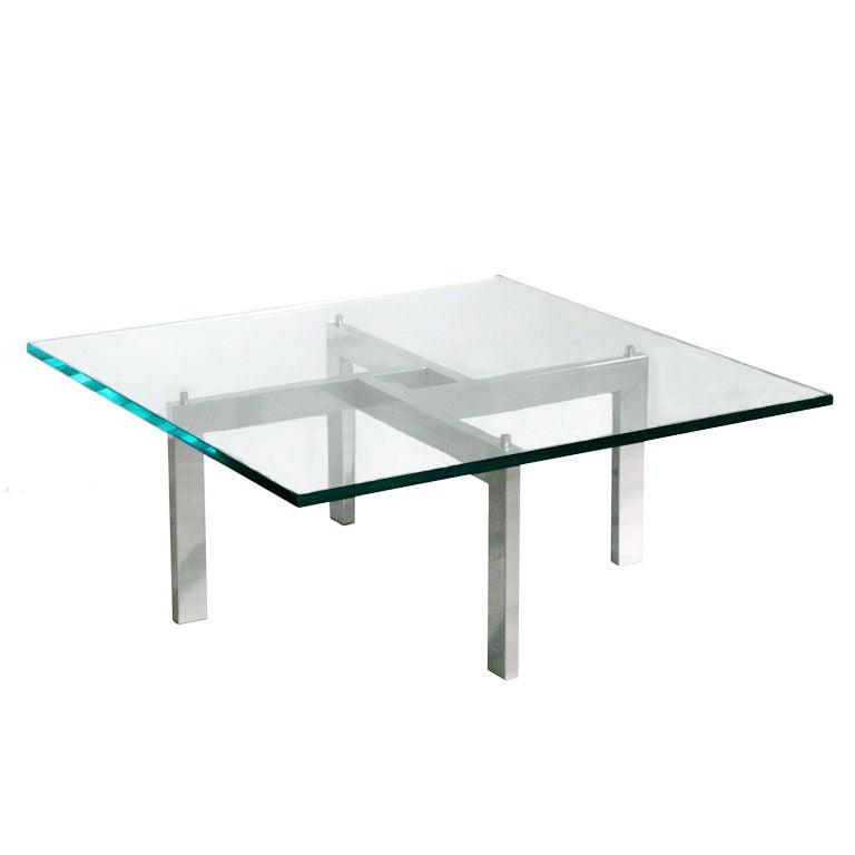 Chrome And Glass Puzzle Coffee Table Possibly Designed By Mies Van Der Rohe At 1stdibs