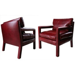 Pair of Milo Baughman Blood Red Leather Upholstered Arm Chairs