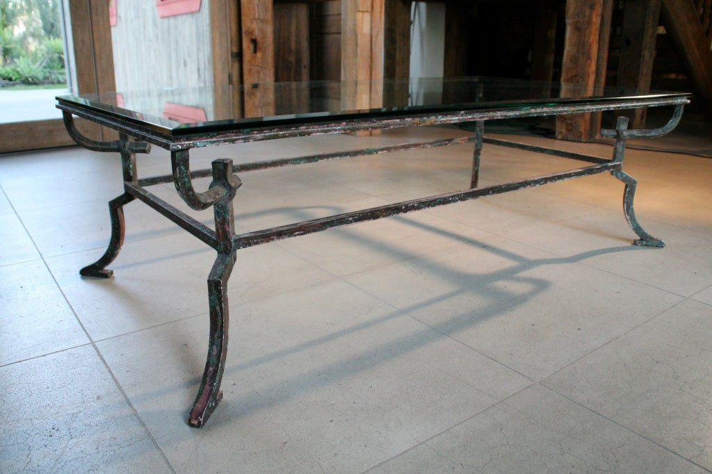gothic french distressed iron glass top coffee table at