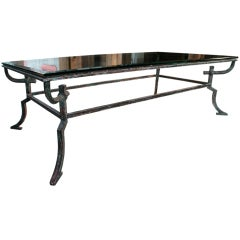 Gothic French Distressed Iron Glass Top Coffee Table