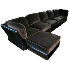 Pierre Cardin Modular Sectional w/ Ottoman, in Leather & Velvet
