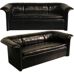 Pair of Rare Dunbar Loveseats, in Sexy Black Gathered Leather