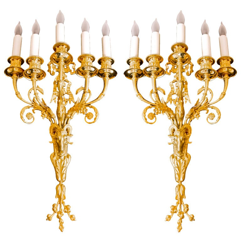 Pair of Neoclassical Ormolu Sconces