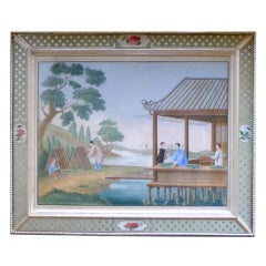 A Large China Trade Painting showing Tending of Silkworms
