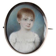 A Charming English Portrait Miniature of a Young Child