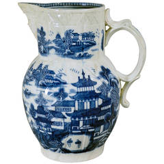 Caughley Porcelain Underglaze Blue Conversation Cabbage Leaf & Mask Jug