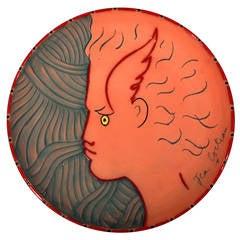 Jean Cocteau Terracotta Pottery Dish of Hermès