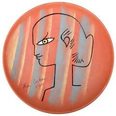 Large Jean Cocteau Terracotta Pottery Dish