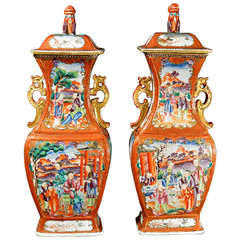 A Pair of Large Chinese Export Porcelain Mandarin Vases