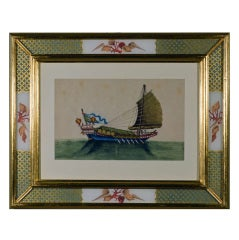 Set of Twelve 19th Century China Trade Paintings of Junks and Sampans