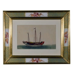 Set of Six 19th Century China Trade Paintings of Chinese Sampans and Junks