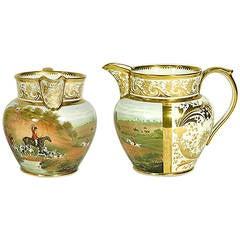 Grainger Lee & Co. Worcester Porcelain Fox Hunting Cider Jug