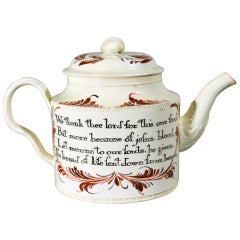 A Rare 18th Century English Creamware Teapot Inscribed with Prayers of Grace