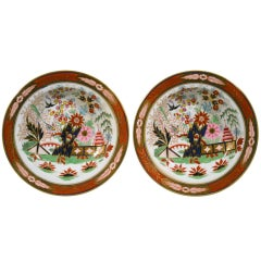 A Pair of Flight, Barr & Barr Worcester Porcelain Fence Pattern Soup Plates