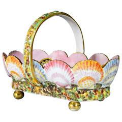 Unusual Spode Porcelain Shell-Moulded Basket