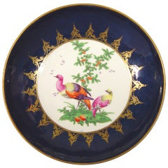 A First Period Worcester Porcelain Blue-Ground Cake Plate