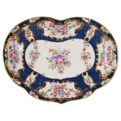 First Period Worcester Porcelain Botanical Blue-Scale Kidney Shaped Dish