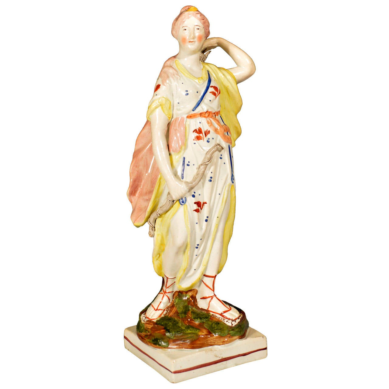 Staffordshire Pearlware Pottery Figure of Diana, Wood Family, Early 19th-century