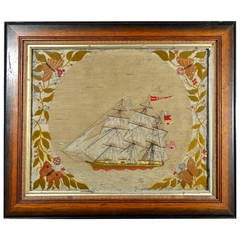 Unusual American Sailor's Woolwork of a Ship