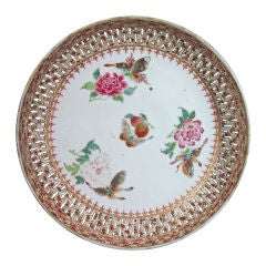 A Chinese Export Openwork Famille Rose & Faux Bois Saucer Dish.