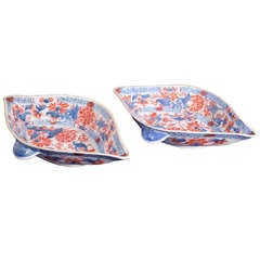 A Rare Pair of Chinese Imari Leaf-shaped Sauce Boats