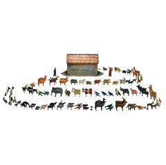 German Noah's Ark with 180 Animals as well as Noah and his Wife