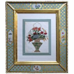 Six China Trade Watercolours on Pith Paper of Hanging Baskets