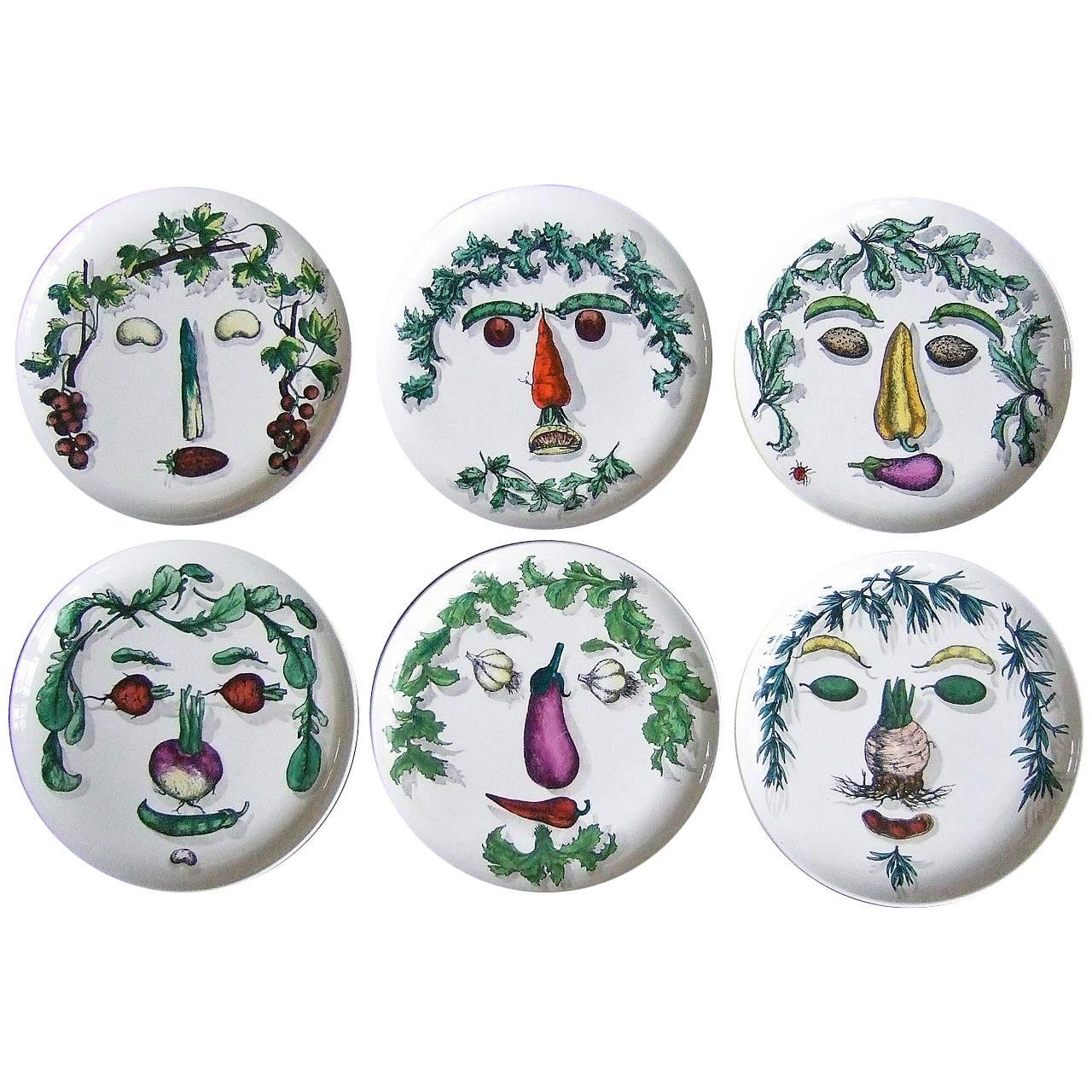 Set of Piero Fornasetti plates, 1960s
