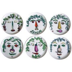 Set of Six Rare Piero Fornasetti Arcimboldesca Motif Vegetable Face Plates