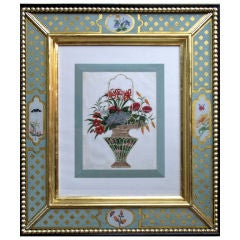 A Set of Four China Trade Watercolours of Hanging Floral Baskets