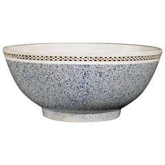 A Charming English Pottery Light Blue Mocha Bowl
