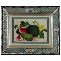 Set of Seven Chinese Watercolours of Fruit on Pith