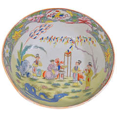 A Large Mason's Ironstone Chinoiserie Punch Bowl