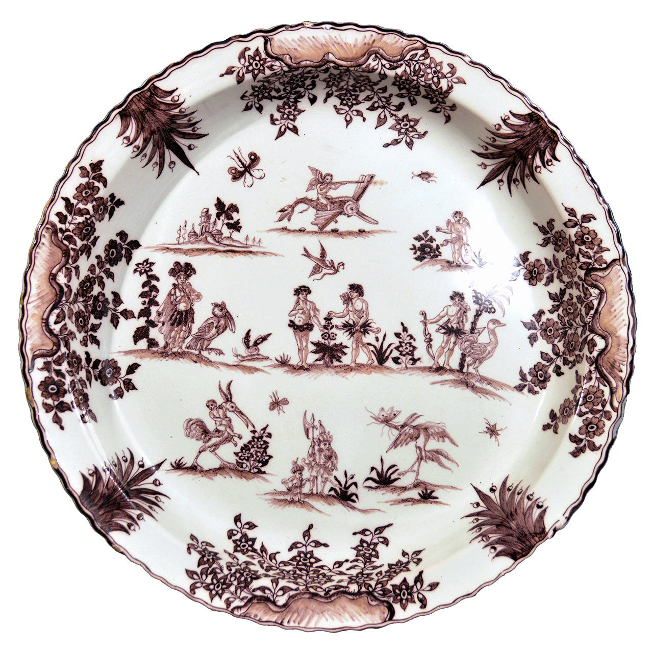 Edme Samson et Cie French Faience Shallow Basin in the Style of Moustier