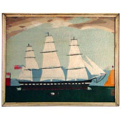 A Rare American Woolwork Picture of Ship with American Flags