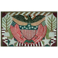 A Fine Woolwork Picture of An American Eagle and Flag
