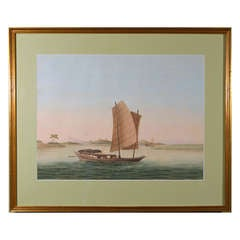 Chinese Watercolor of a Sampan on Paper, circa 1800
