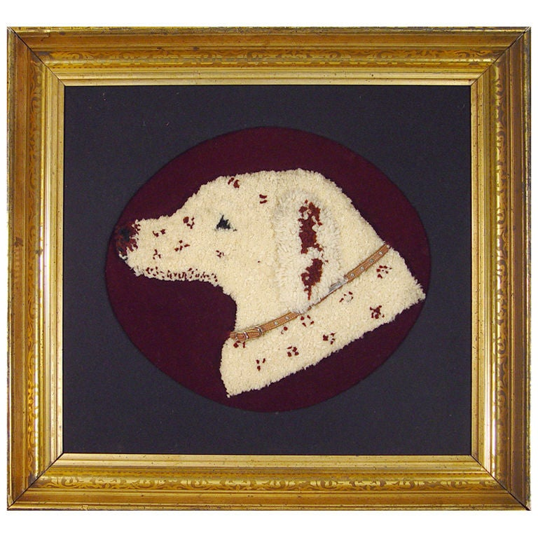 Stumpwork Textile Picture of a Dog's Head. For Sale