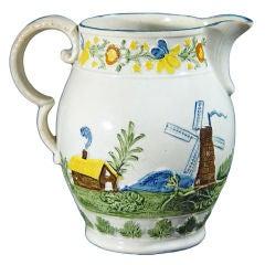 Windmill Decorated Pottery Jug