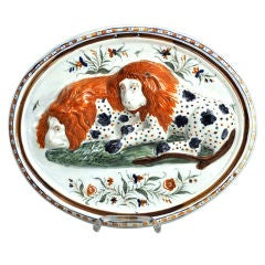 Prattware Pearlware Pottery Plaque of Lions.