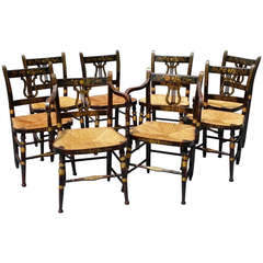 Set of Eight American Lyle-Back Hitchcock Chairs