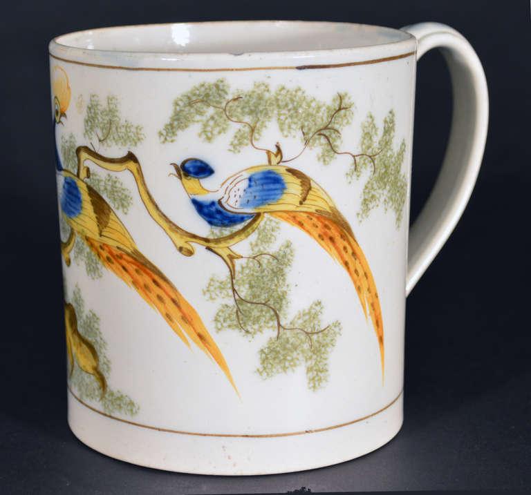 Folk Art Pearlware Peafowl Large Tankard. For Sale