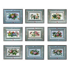 A Set of Nine Chinese Export Botanical Watercolours of Flowers