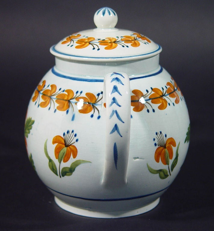 Folk Art English Pottery Pearlware Teapot decorated with Unusual Prattware Orange Flowers For Sale